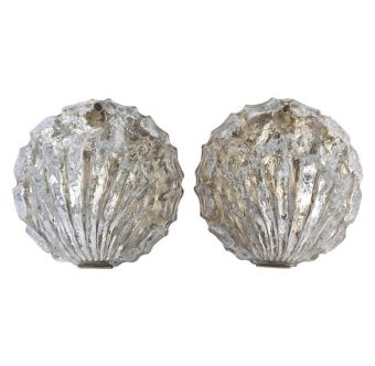 Textured Glass and Brass Shell Sconces -  NL2019-16