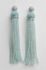 18K White Gold and Aquamarine Tassel Earrings
