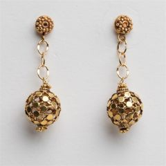 22K Gold Ball and Chain Earrings
