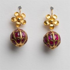 22K Gold and Ruby Earrings