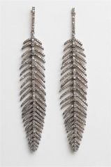 Articulated Diamond Feather Earrings