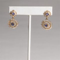 Baguette Diamond and Tanzanite Earrings