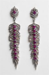 Burmese Ruby and Diamond Feather Earrings