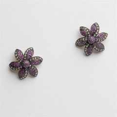 Burmese Ruby and Diamond Flower Stud Earrings