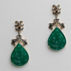 Carved Green Chalcedony and Diamond Earrings