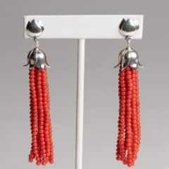 Coral and Sterling Tasslel Earrings