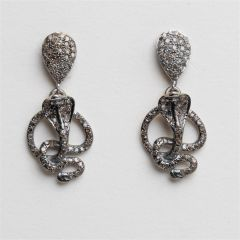 Diamond Coil Snake Earrings