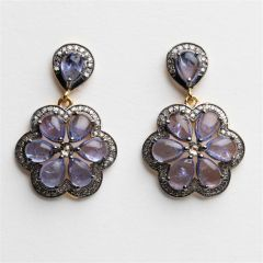 Diamond and Tanzanite Flower Earrings