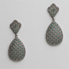 Emerald and Diamond Basket Weave Earrings