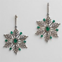 Emerald and Diamond Snowflake Earrings