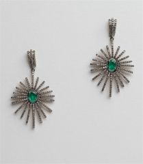 Emerald and Diamond Sunray Earrings