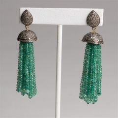 Emerald and Pave` Diamond Tassel Earrings