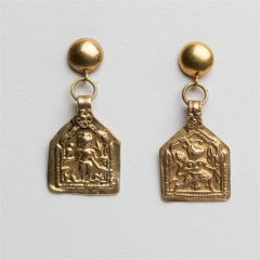 Gold Hindu Deity Pendant Earrings