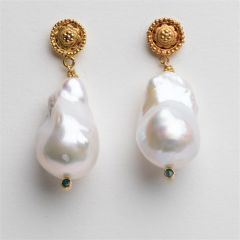 Gold and Baroque  Pearl Earrings