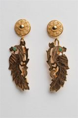 Gold and Vermeil Peacock Earrings