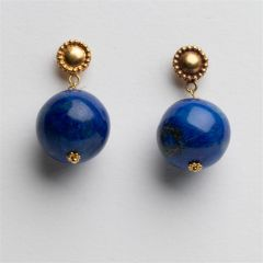 Lapis and 18K Gold Ball Earrings