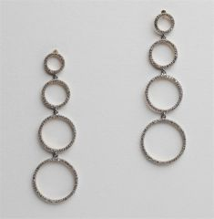 Long Diamond Circle Earrings