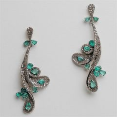 Long Emerald and  Diamond Earrings