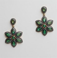 Marquise Emerald and Diamond Flower Earrings