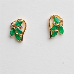 Marquise Emerald and Diamond Studs