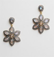 Marquise Moonstone and Diamond Flower Earrings