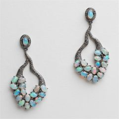 Opal and Diamond Dangle Earrings
