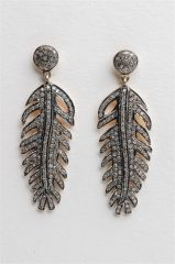 Pave` Diamond Feather Earrings