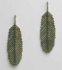 Pave` Emerald Feather Earrings
