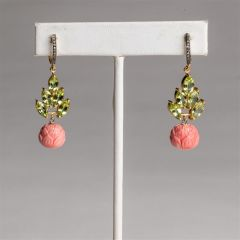 Peridot, Coral and Diamond Earrings