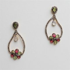 Peridot, Garnet and Diamond Earrings
