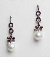 Rhodium Plated Ruby, Diamond and Baroque Pearl Earrings