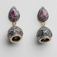 Ruby and Diamond Dome Earrings