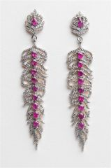 Ruby and Diamond Feather Earrings