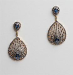 Sapphire and Diamond Peacock Earrings