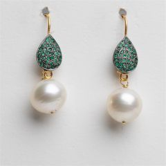 South Sea Pearl and Pave` Emerald Drop Earrings