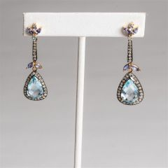 Tanzanite, Diamond and Aquamarine Earrings