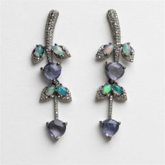 Tanzanite, Opal and Diamond Earrings