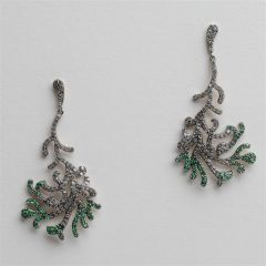 Tsavorite and Diamond Coral Branch Design Earrings