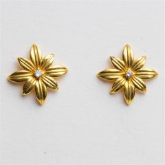 Vermeil and Diamond Stud Earrings