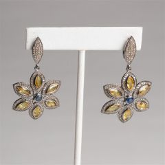 Yellow Sapphire Petals, Diamonds and Blue Sapphire Earrings