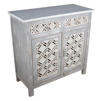 Carved Cabinet with Gray and White Paint, Late 20th C.-FC0720-2