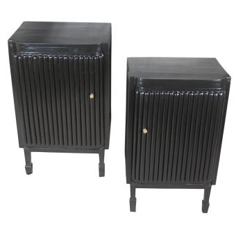 Ebonized Side tables with Reeded Fronts, Mid 1900's-FC0720-3