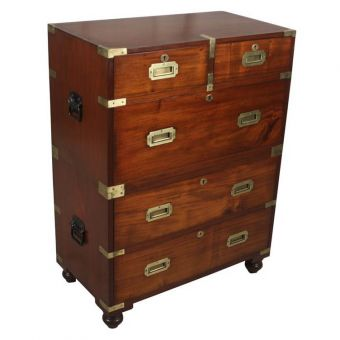 Late 19th C. Mahogany British Campaign Chest with Iron Handles-FC0720-4