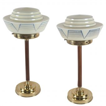 Art Deco Shades on Teak and Brass Bases-NL0720-1