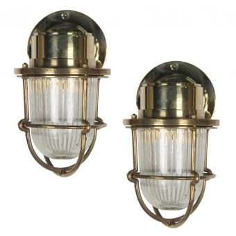 Brass Passageway Lights with Textured Glass Shades-NL0720-5