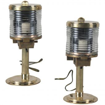Brass and Fresnel Lens Post Lights Mounted on Reeded Stems-NL0720-3