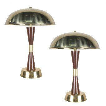 Brass and Teak Table Lamps from Ship's Stateroom-NL0720-4