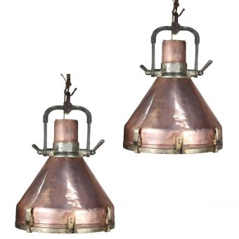 Large Copper Deck Lights, 1970's-NL0720-11