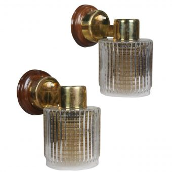 Mid Century Modern Brass Sconces with Double Shades of Clear and Amber-NL0720-12