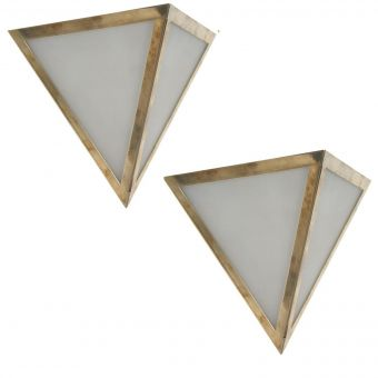 Mid Century Modern Triangular Frosted Shade Sconces-NL0720-13